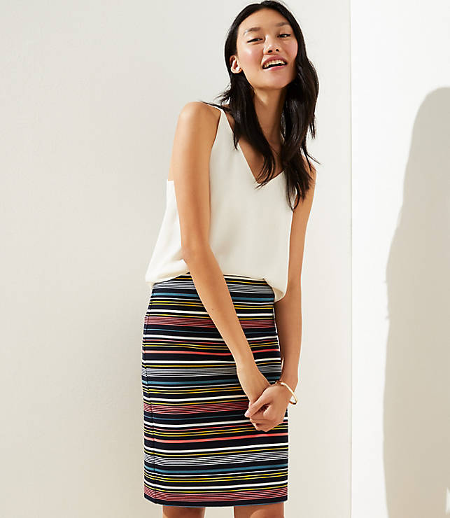 Petite Striped Pull On Pencil Skirt