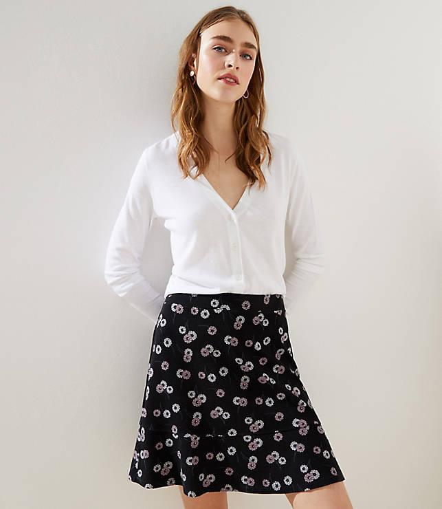Petite Daisy Chain Ponte Flippy Skirt