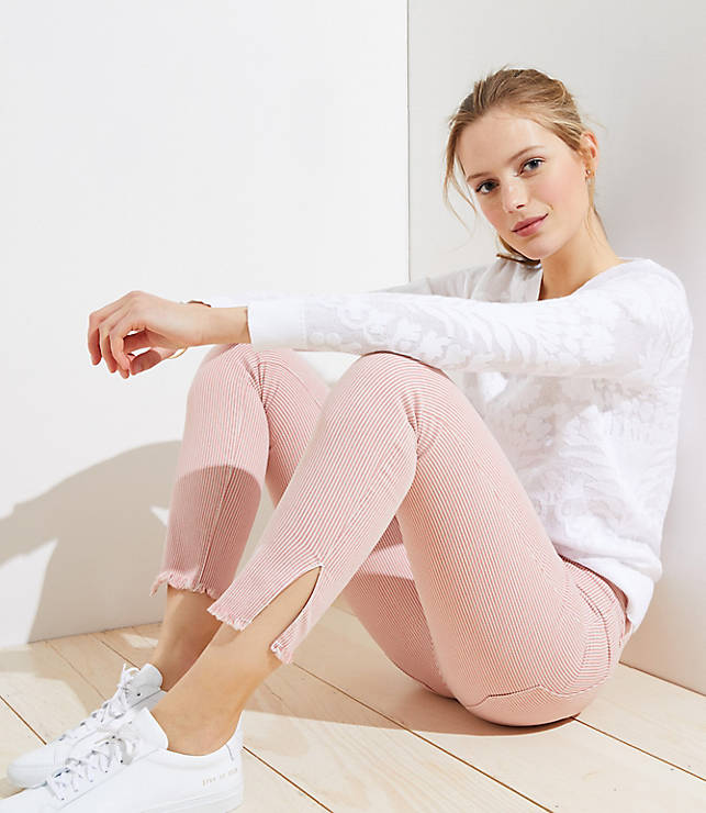 Petite Side Stripe Skinny Crop Jeans in Red