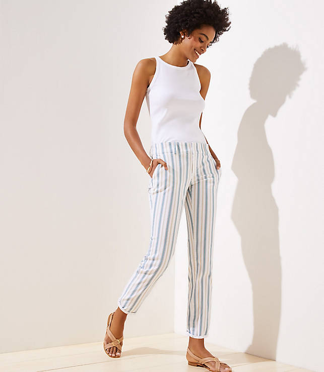 Petite Striped Roll Cuff Girlfriend Chinos