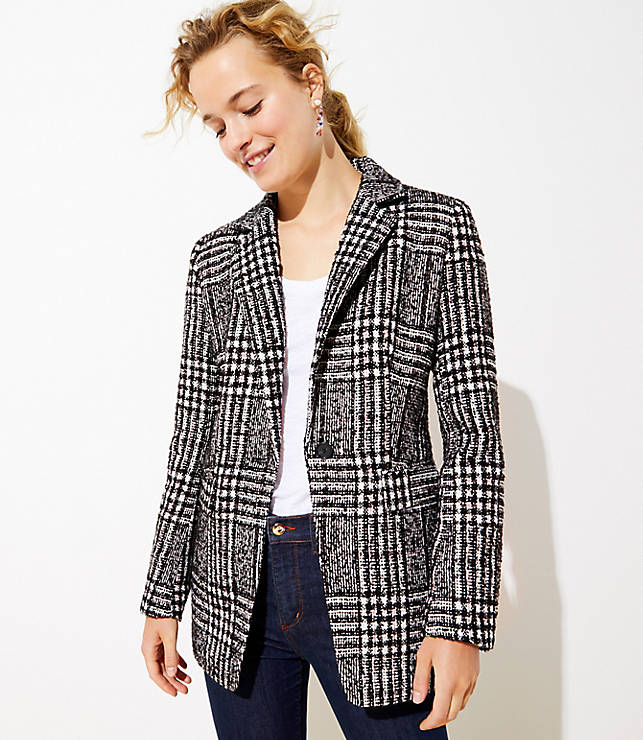 Plaid Tweed Long Modern Blazer