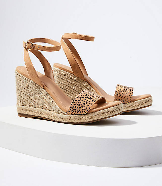 751748ef2b9 Cheetah Print Ankle Strap Espadrille Wedge Sandals | LOFT