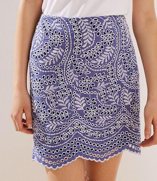 bbc82125e21e Image 2 of 3 - Scalloped Embroidered Eyelet Skirt