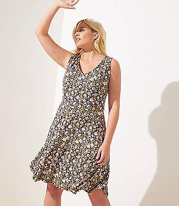 60e6600a6d1 LOFT Plus Floral V-Neck Flounce Flare Dress