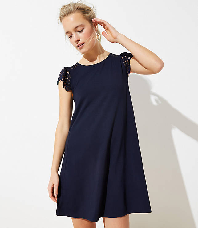 6fe69aff0f869 Petite Lace Cap Sleeve Swing Dress | LOFT