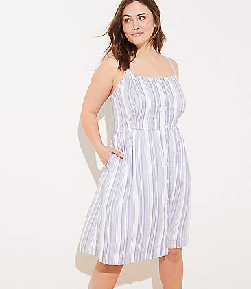 168d54508a145 LOFT Plus Striped Button Down Flare Dress
