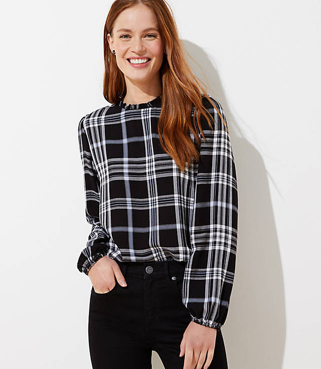 Plaid Ruffle Tie Back Blouse