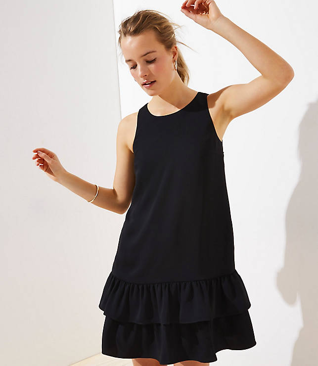 Petite Back Cutout Ruffle Hem Dress