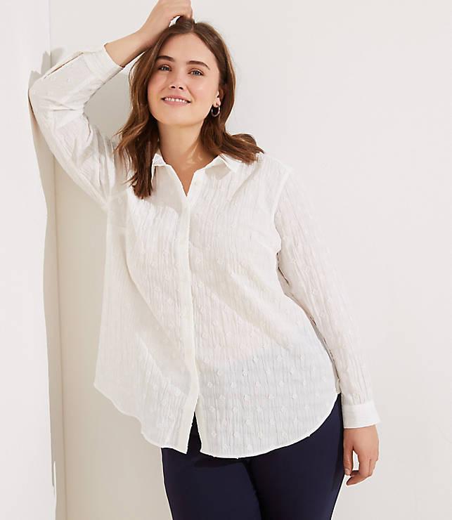 885d1945453 LOFT Plus Textured Dot Button Down Tunic Shirt | LOFT