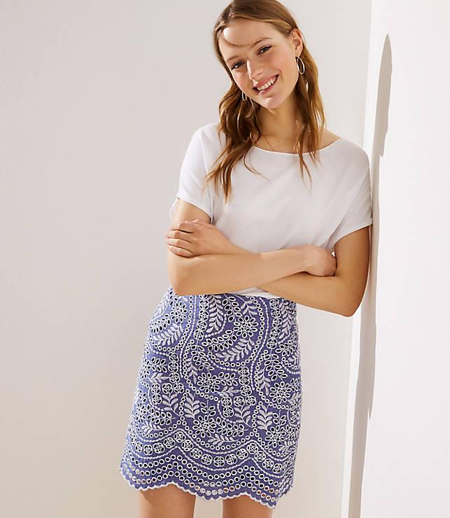 Petite Scalloped Embroidered Eyelet Skirt
