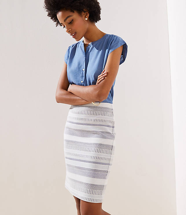 Petite Striped Jacquard Pull On Pencil Skirt