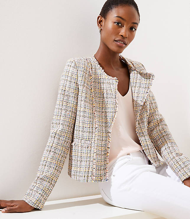 Petite Frayed Tweed Jacket
