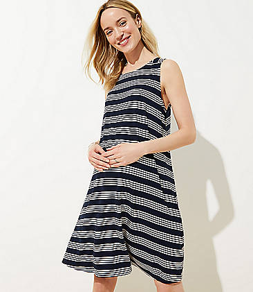 34085f32154 Maternity Striped Back Cutout Sleeveless Swing Dress
