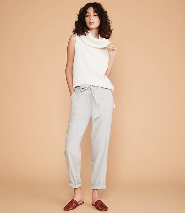 0e7de8ffe36f06 Lou & Grey Crosshatch Softstretch Linen Tie Waist Pants   LOFT