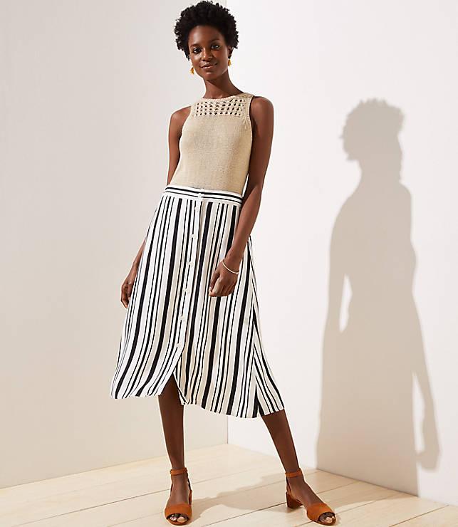 Petite Striped Button Front Midi Skirt