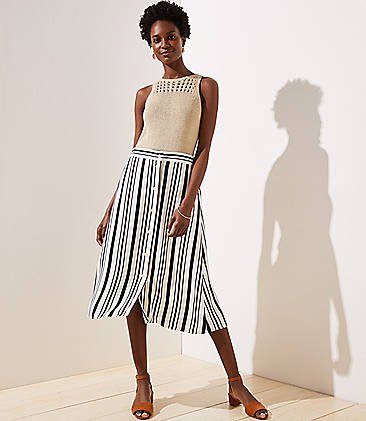2253dd57dd7 Petite Striped Button Front Midi Skirt