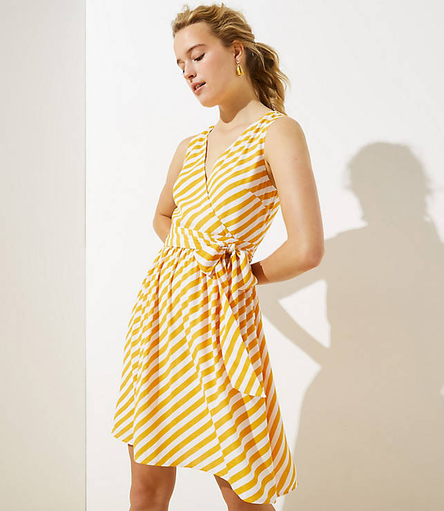 Petite Striped Sleeveless Wrap Dress