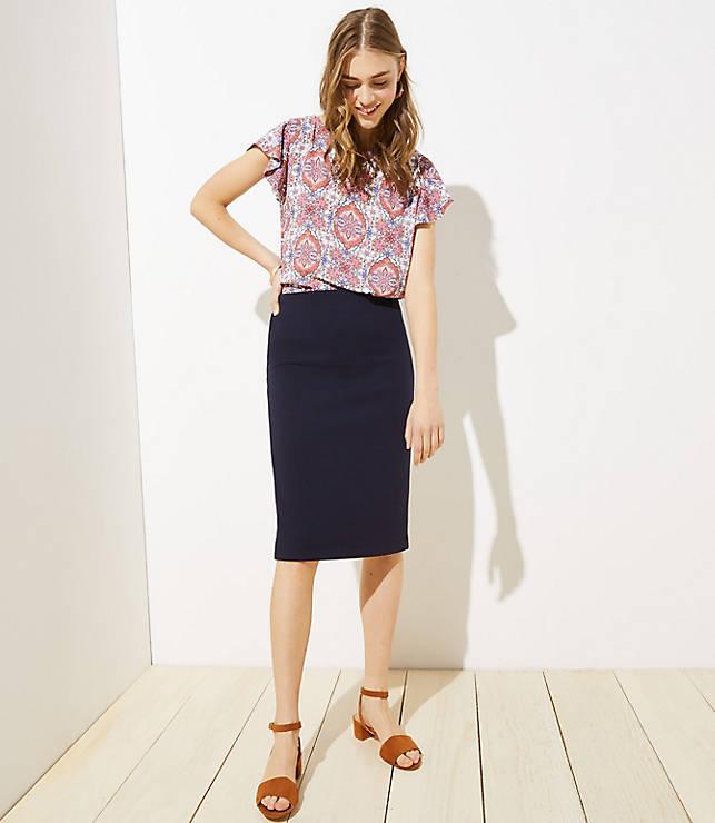 Petite Midi Pull On Pencil Skirt