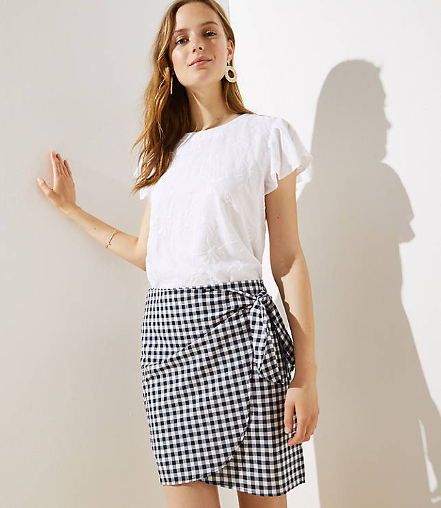 Petite Gingham Wrap Shift Skirt by Loft