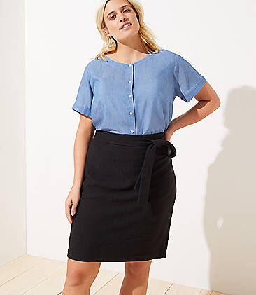 8bab19e247 LOFT Plus Tie Waist Pull On Pencil Skirt