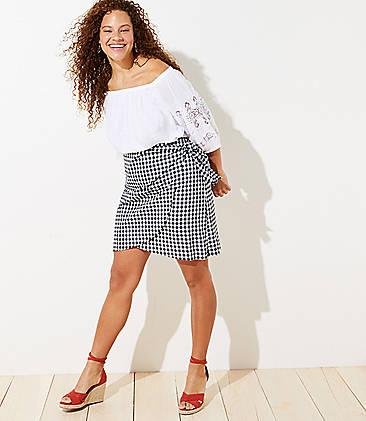 56648afd0 LOFT Plus Gingham Wrap Shift Skirt