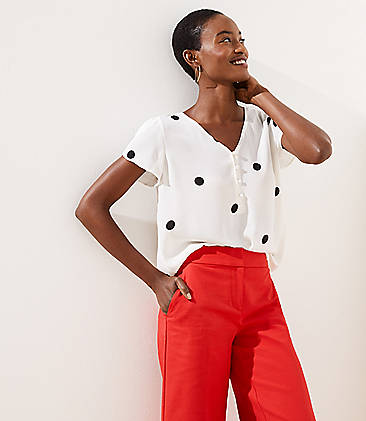 7e974928c5e559 Petite Dot Buttoned Petal Sleeve Top