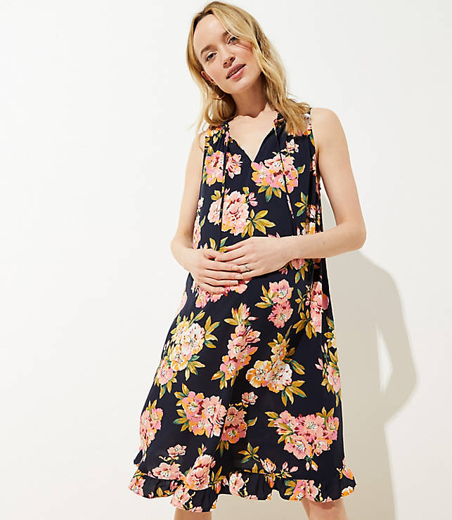 bf92d4459ae Maternity Floral Ruffled Tie Neck Swing Dress
