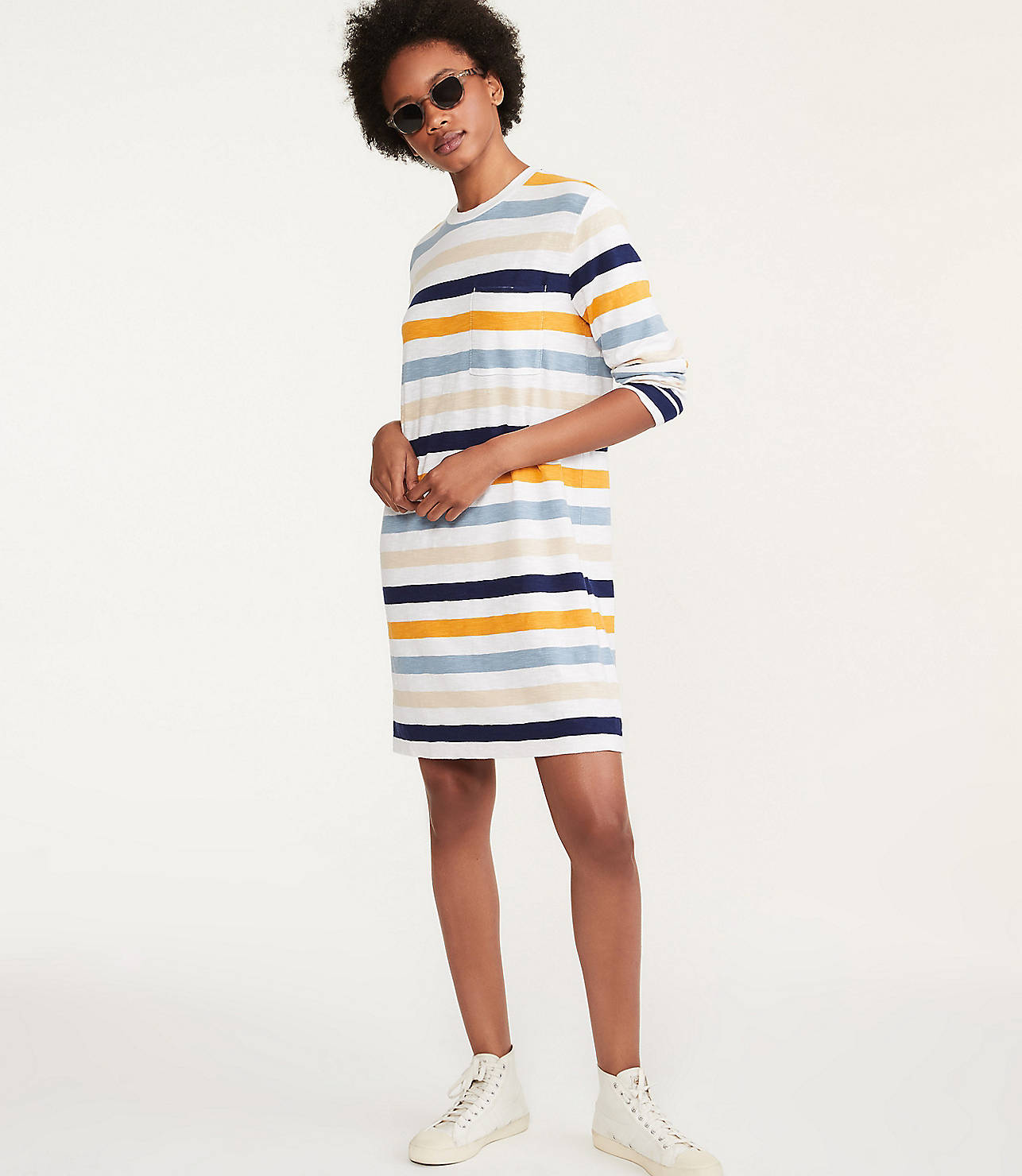 Striped Cozy Jersey Pocket Tee Dress by Lou & Grey