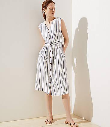 1d6c76fb643a Petite Striped Button Down Pocket Dress