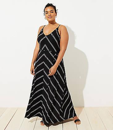 6de4aad08dde8 LOFT Plus Chevron Strappy Maxi Dress