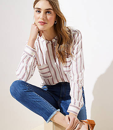 1d927bfc964 Striped Crossover Back Utility Blouse. Best Seller