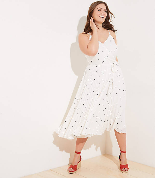 5843ad669040 LOFT Plus Dotted Pleated Wrap Midi Dress | LOFT