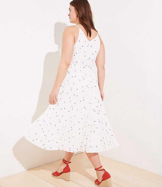 8f7a8c37a9da Image 3 of 3 - LOFT Plus Dotted Pleated Wrap Midi Dress