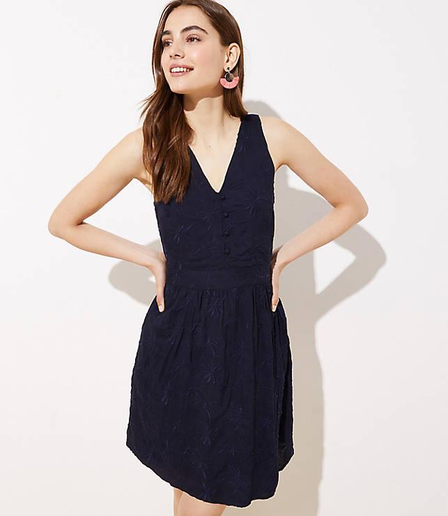 5e7dde699 Embroidered Button Flare Dress | LOFT