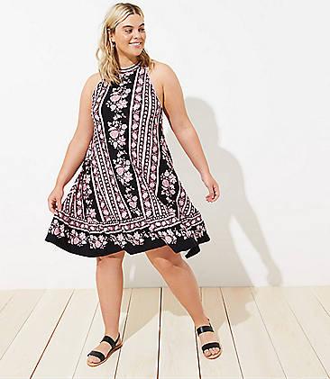 779872cc81d82 LOFT Plus Border Floral Halter Swing Dress