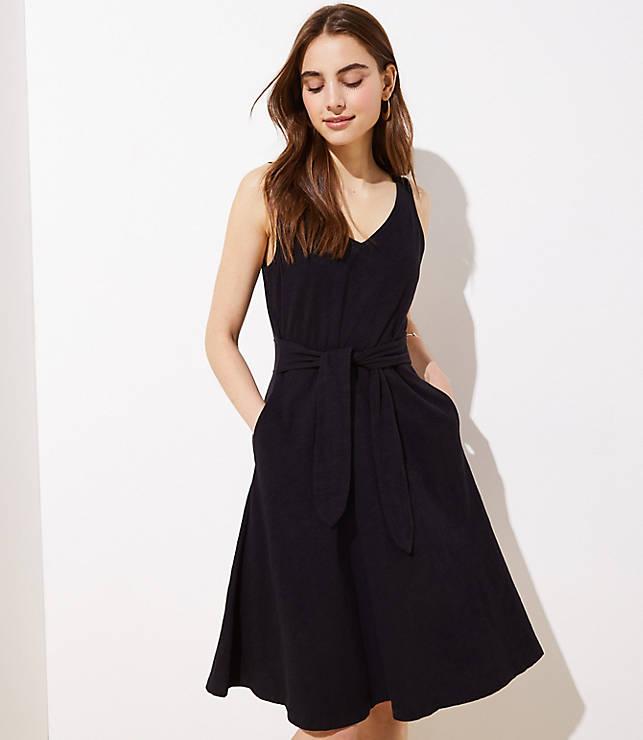 Tie Waist Midi Flare Dress by Loft