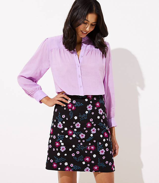 Garden Embroidered Shift Skirt by Loft