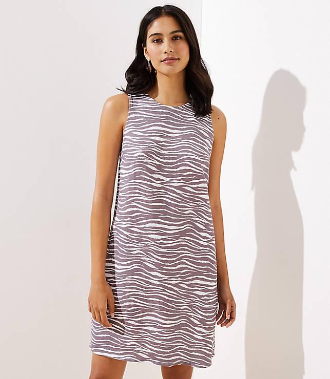 Zebra Linen Blend Pocket Dress