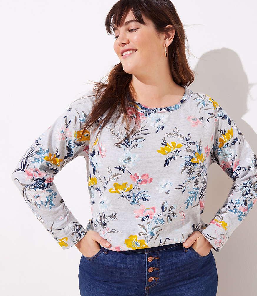 184b30168f LOFT Plus Floral Sweatshirt | LOFT