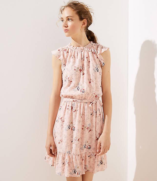 Floral Clip Dot Flounce Dress by Loft