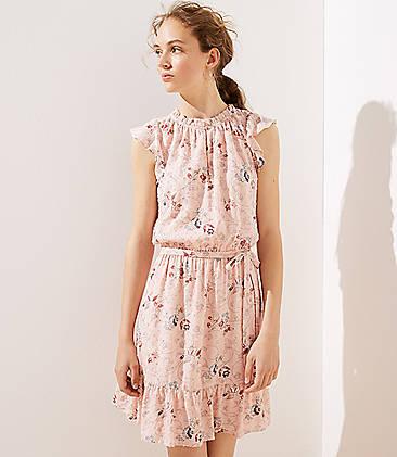e3703c000 Floral Clip Dot Flounce Dress