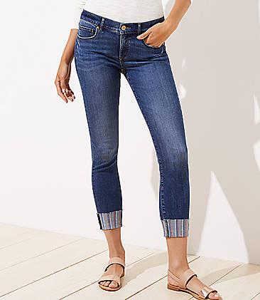 60b879933bd2 Curvy Embroidered Hem Skinny Crop Jeans in Original Mid Indigo Wash