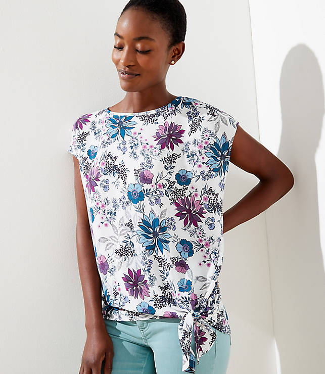 Floral Mixed Media Tie Hem Top