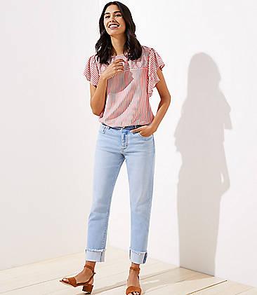 a40176a0566b9 Petite Frayed Flip Cuff Boyfriend Jeans in Light Indigo