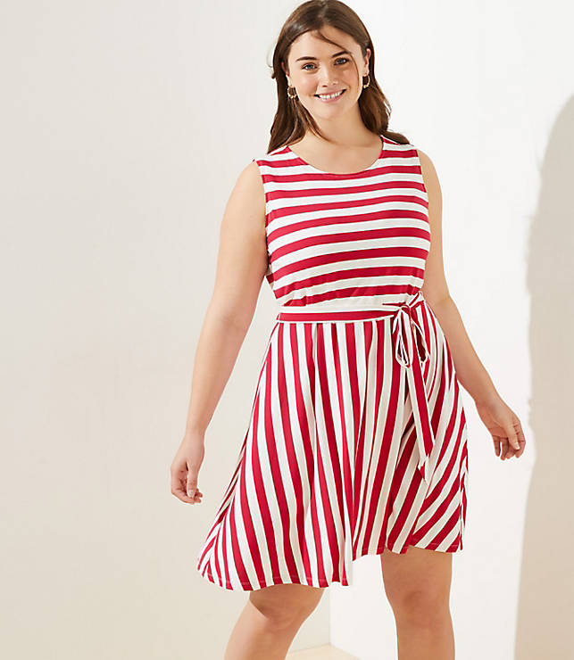 Loft Plus Striped Tie Waist Flare Dress by Loft