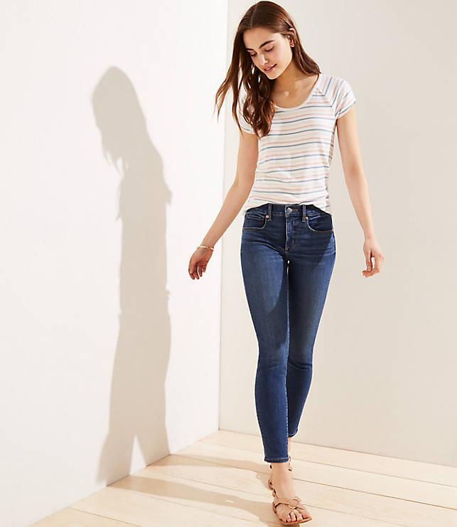 dc982b493329b Petite Modern Destructed Slim Pocket Skinny Jeans in Mid Indigo Wash
