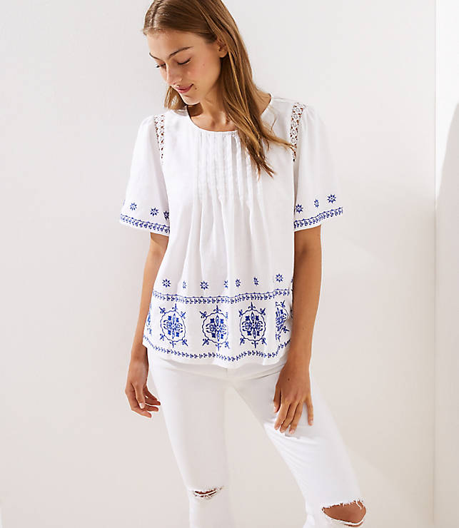 Petite Embroidered Pintucked Top by Loft