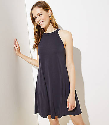 2891c655310633 Petite Halter Cutout Back Swing Dress
