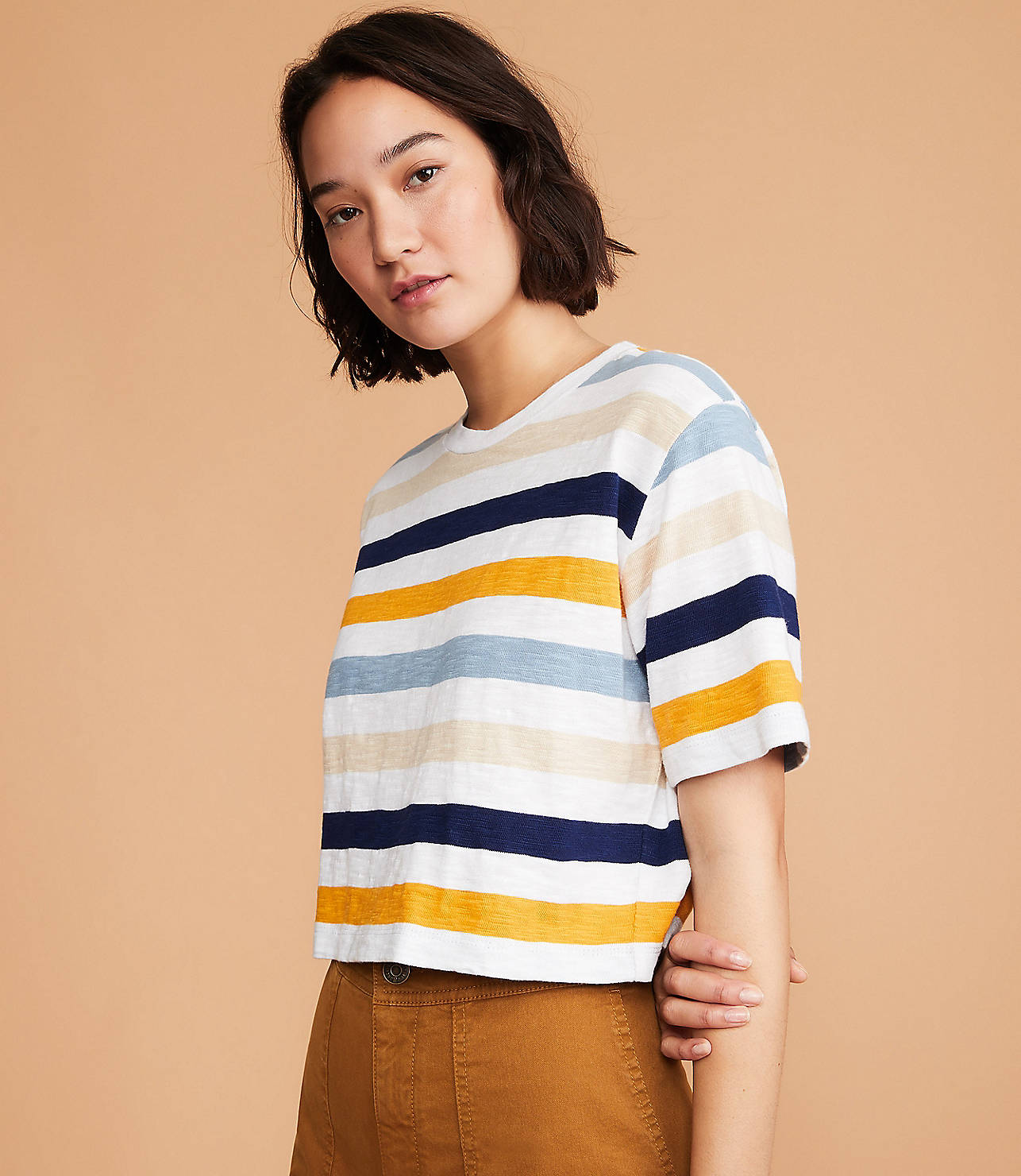 Striped Cozy Jersey Crop Top by Lou & Grey