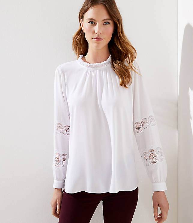 Lacy Ruffle Neck Blouse